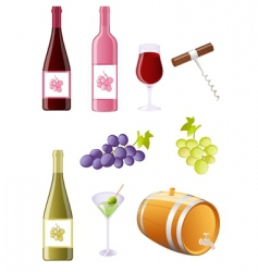 wine and grapes icon set vector image
