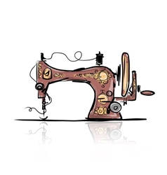 Sewing machine retro sketch for your design vector