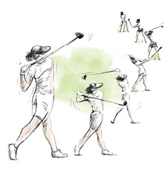 Golfer - hand drawn converted into vector