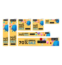 Banner website sale off package with balloon polyg vector