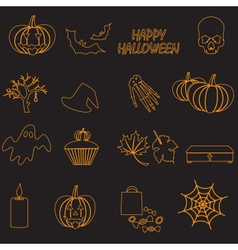 Halloween orange color outline icons set eps10 vector