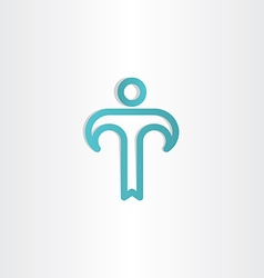 Turkoise letter t man icon vector