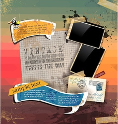Vintage scrapbook composition with old style vector