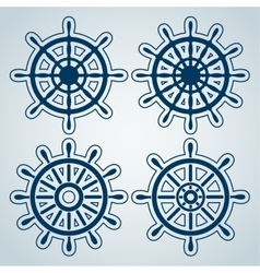 Set of ship steering wheels vector