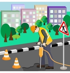 Repairing of the road with jackhammer vector