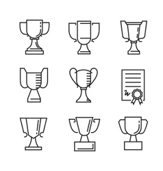 Flat award icons vector