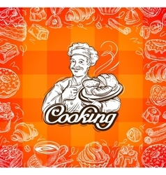 Food and chef hand-drawn vector