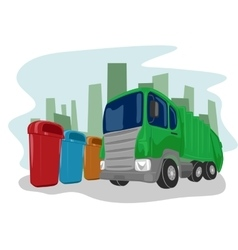 Recycling truck picking up bins vector
