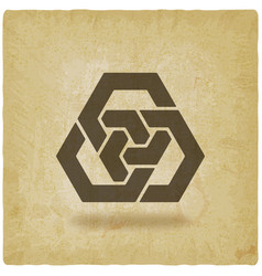 Abstract interlocking hexagons vintage background vector