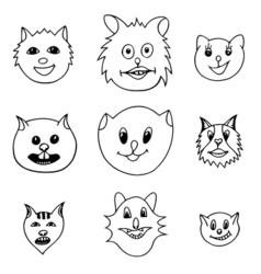 Adorable cartoon cats faces vector