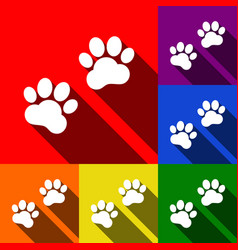 Animal tracks sign set of icons with flat vector