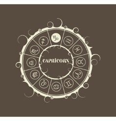 Astrology symbols in circle capricorn sign vector