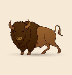 big buffalo standing graphic vector image vector image