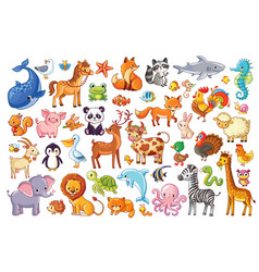 Big set of animals vector