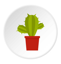 Cactus flower in pot icon circle vector