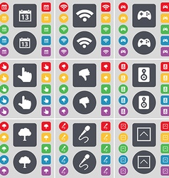 Calendar Wi-Fi Gamepad Hand Dislike Speaker Tree vector image