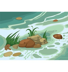 Cartoon grass stones and brook vector image vector image