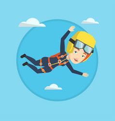 caucasian parachutist jumping with parachute vector image vector image
