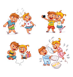 children spend leisure time fun vector image