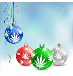 Christmas balls cannabis hemp vector
