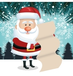 Christmas landscape santa claus with list gift vector