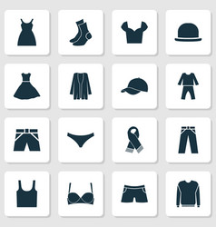 Clothes icons set with sundress trousers fedora vector