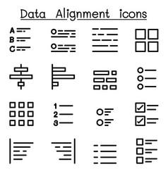 data alignment icon set vector image vector image