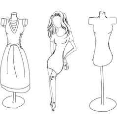 Drawn fashion girl with dress form vector
