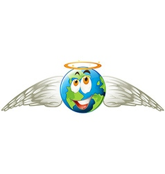 Earth with angel wings vector image