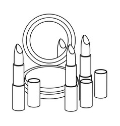 figure face powder with lipsticks icon vector image