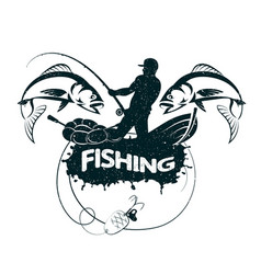 fishing concept silhouette vector image vector image