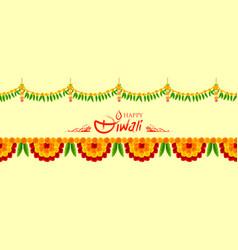 Flower garland decoration toran for happy diwali vector