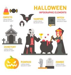 Halloween festival flat design infographic vector image
