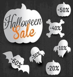 Halloween sale design elements and badges vector
