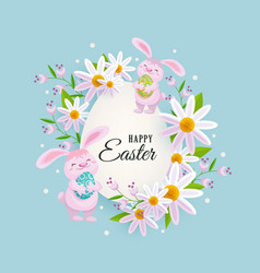Happy easter greeting card with bunnies flowers vector