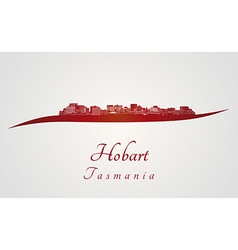 Hobart skyline in red vector