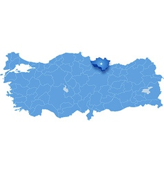 Map of turkey ordu vector