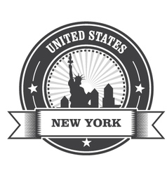 New York emblem with Statue of Liberty vector image vector image