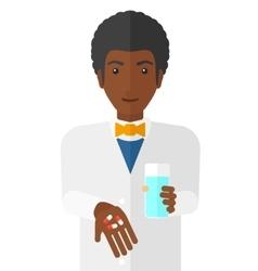 Pharmacist giving pills vector image