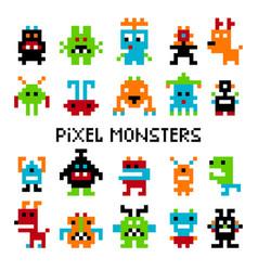Pixel invaders set vector