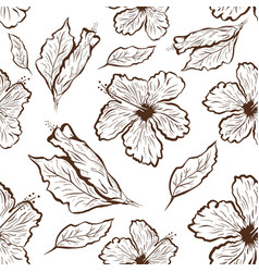 Seamless pattern of hibiscus flower in tattoo vector