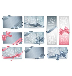 Set of beautiful Gift cards with color gift bows vector image vector image