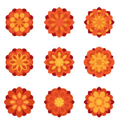 Set of color flowers flat icons vector