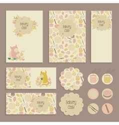 Set of flyer sticker tag templates for kids cafe vector