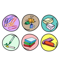 Set of School Supplies on Round Background vector image