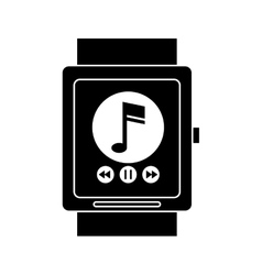 Silhouette smart watch music player app technology vector
