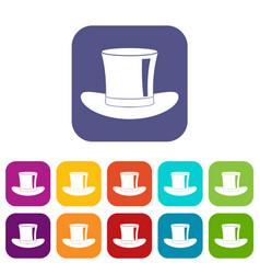Silk hat icons set flat vector