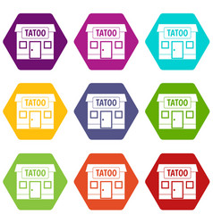 Tattoo salon building icon set color hexahedron vector