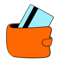 Wallet with credit card icon cartoon vector