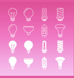 white lamp bulbs line and outline icons collection vector image vector image